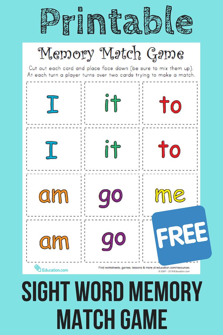 Match Game Sight Word Memory Match Worksheet Education Com Teaching Sight Words Preschool Sight Words Preschool Sight Words Printables [ 1102 x 735 Pixel ]