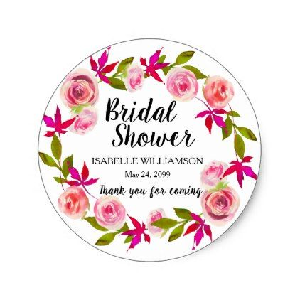 Pink floral thank you bridal shower classic round sticker floral bridal shower gifts wedding bride