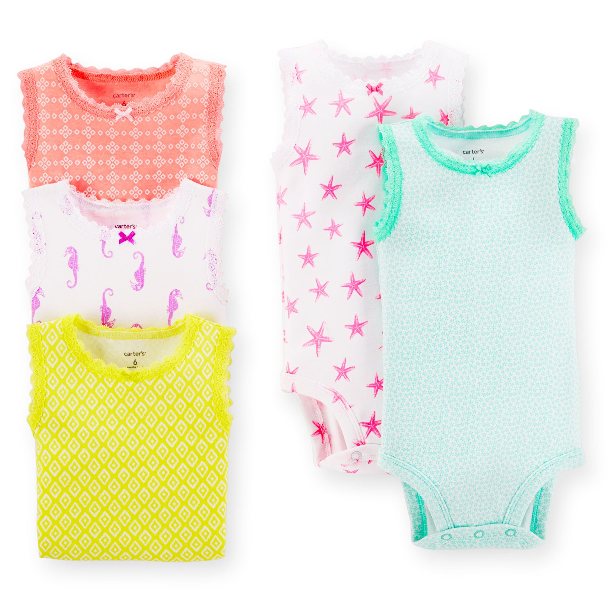 Carters Girls Printed 5 Pack Sleeveless Bodysuits In Assorted Colors