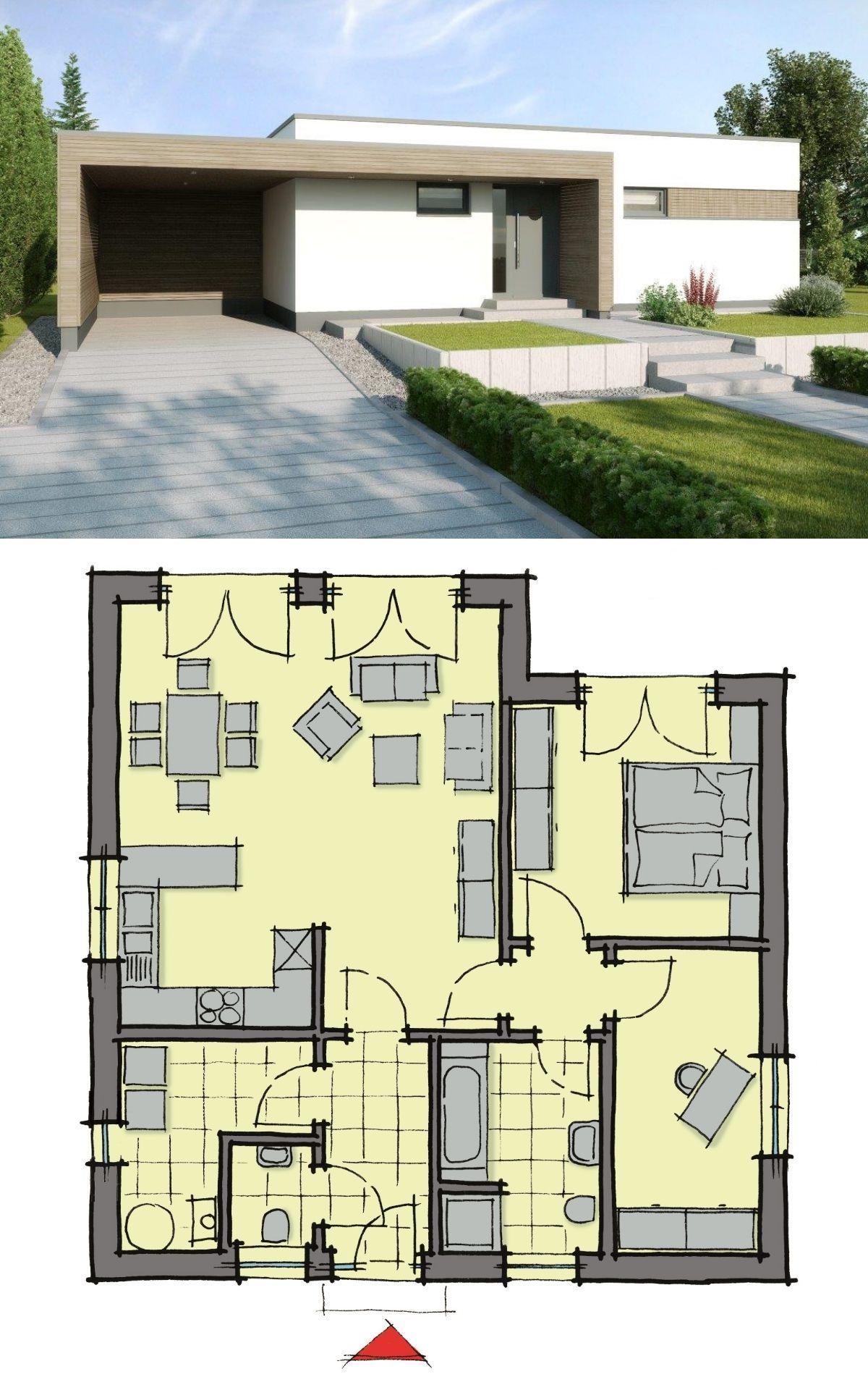 Winkelbungalow modern mit Flachdach Architektur
