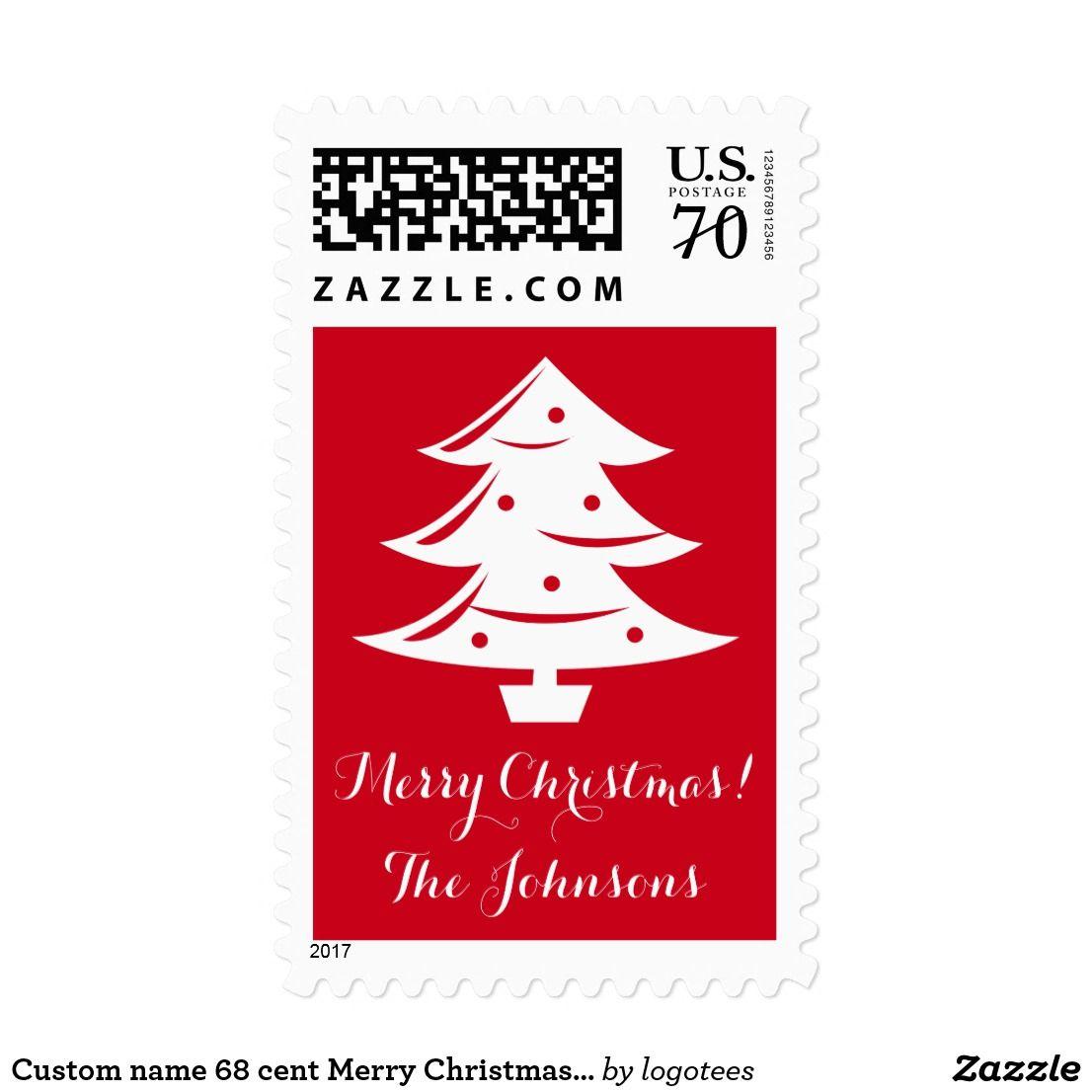 Custom name 68 cent Merry Christmas tree stamps Custom name 68 cent ...