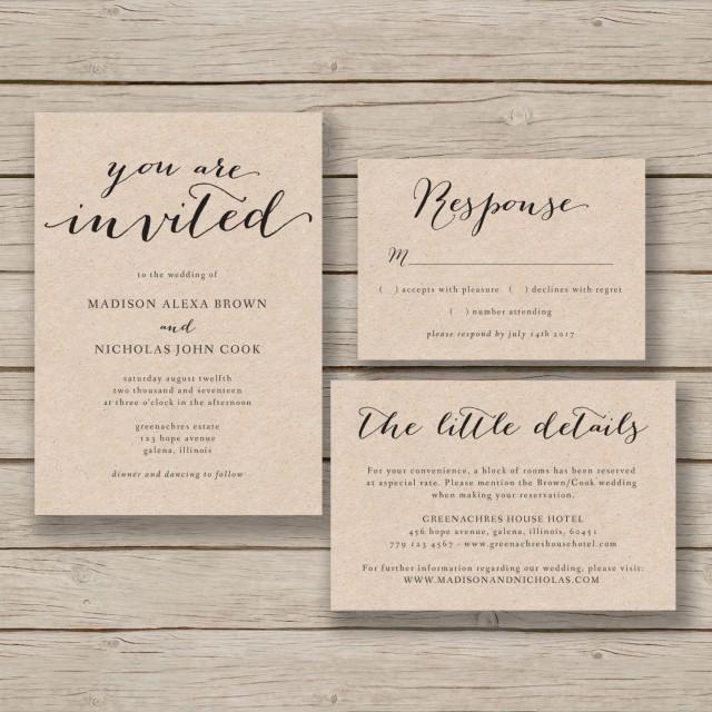 Printable Wedding Invitation Template - Rustic Invitation Suite- DIY