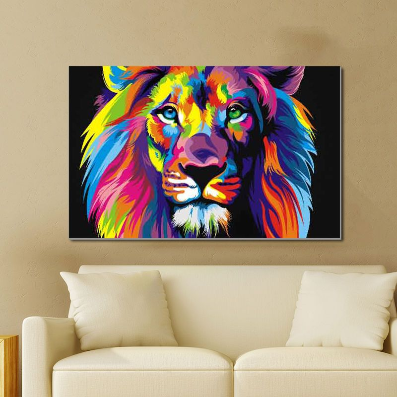 Lion Canvas Prints Wall Art Oil Painting Home Decor Roaring Bear Animal Unframed Animal Canvas Art Colorful Lion Canvas Lion Canvas Painting