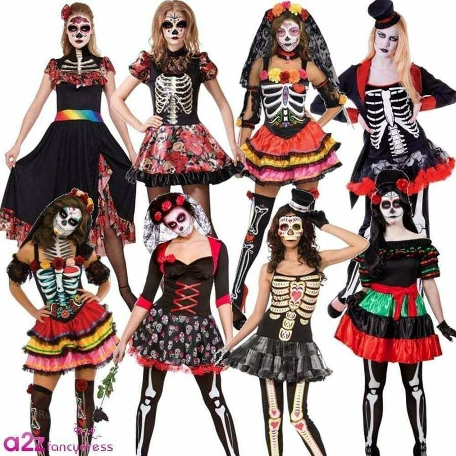 Skull Headband Long Halloween Fancy Dress 10 12 14 Ladies Skeleton Costume