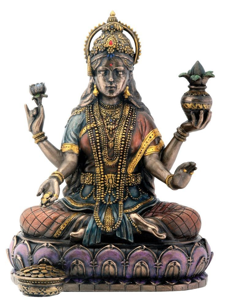 Bronze Hindu Goddess Lakshmi On Lotus Hinduism Display Statue #Summit