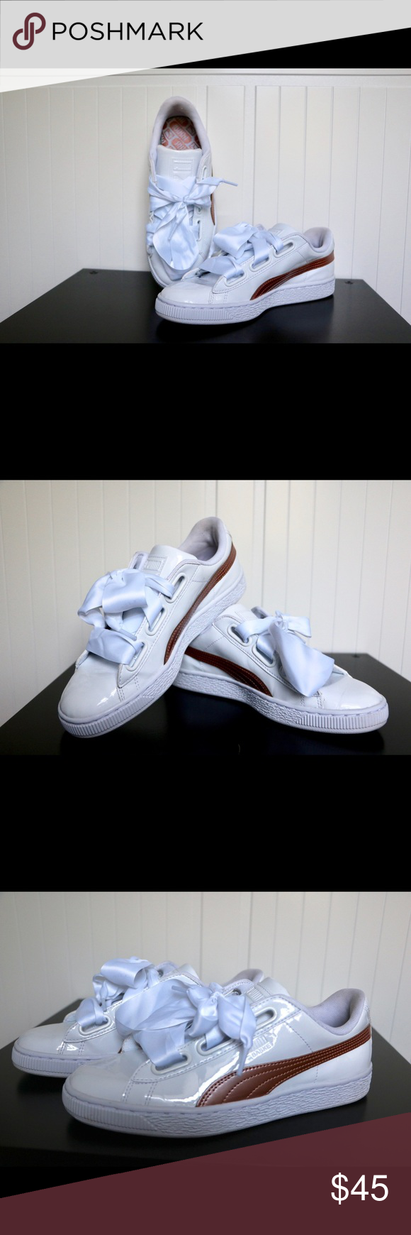 Womens Puma basket heart patent whitecopper