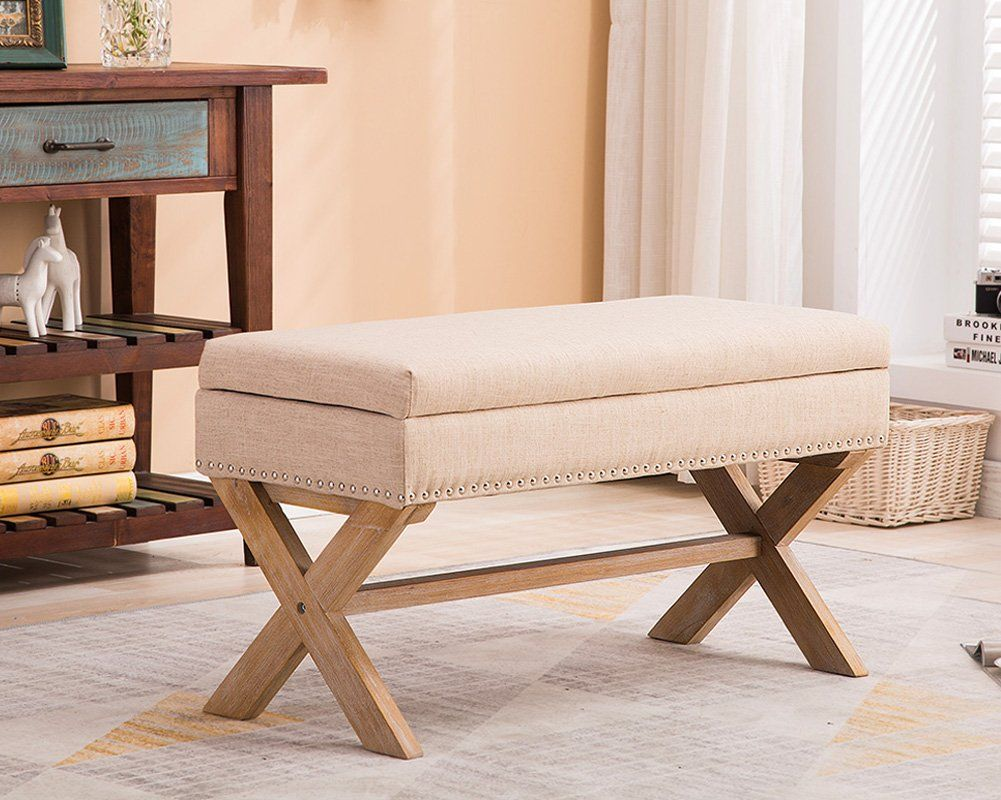 Chairus Fabric Upholstered Storage Entryway Bench 36 Inch Bedroom Bench Seat With X Shaped Wood Legs For Living Room Foyer Or Hallway Beige