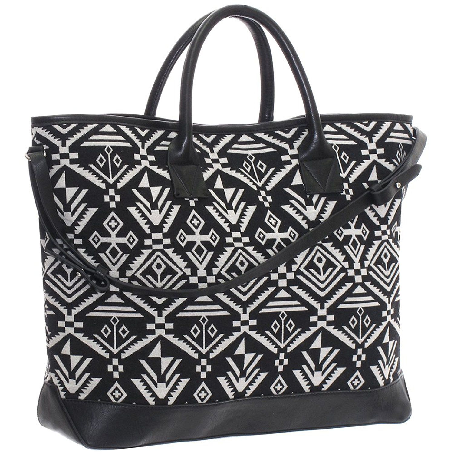 Fabric tote bag with short and long handles to view