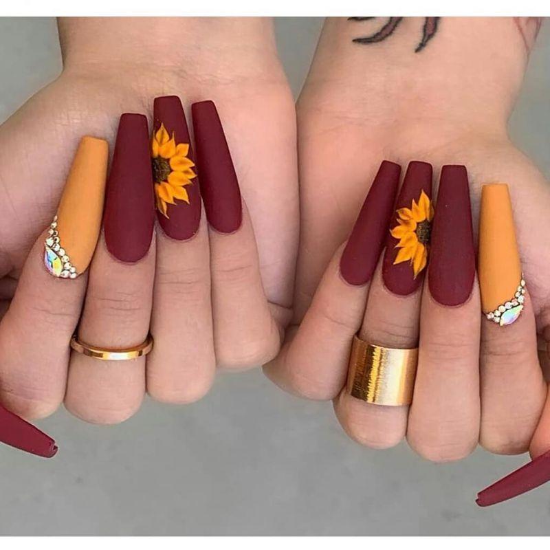 51 Bright Sunflower Nail Art Designs To Inspire You Fall Acrylic Nails Sunflower Nails Swag Nails
