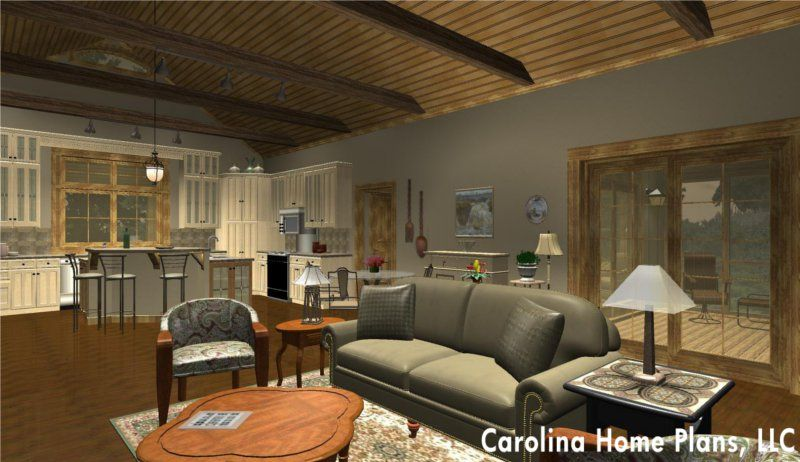 Open floor plan cathedral ceiling great room and split for Carolina plan room
