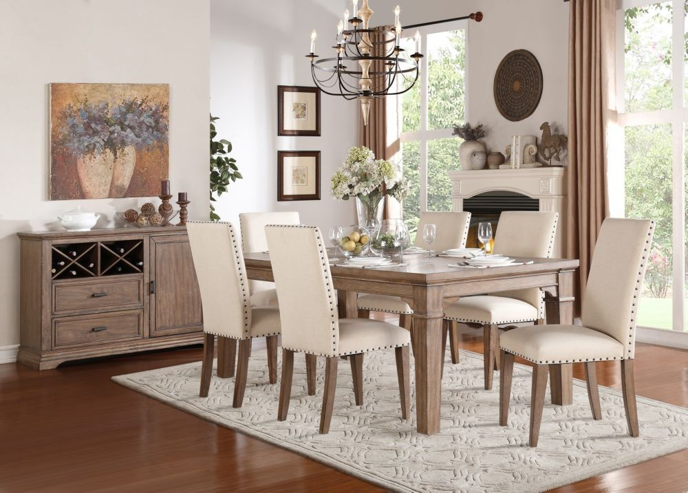 7pcs traditional weathered wash wood dining table set fabric