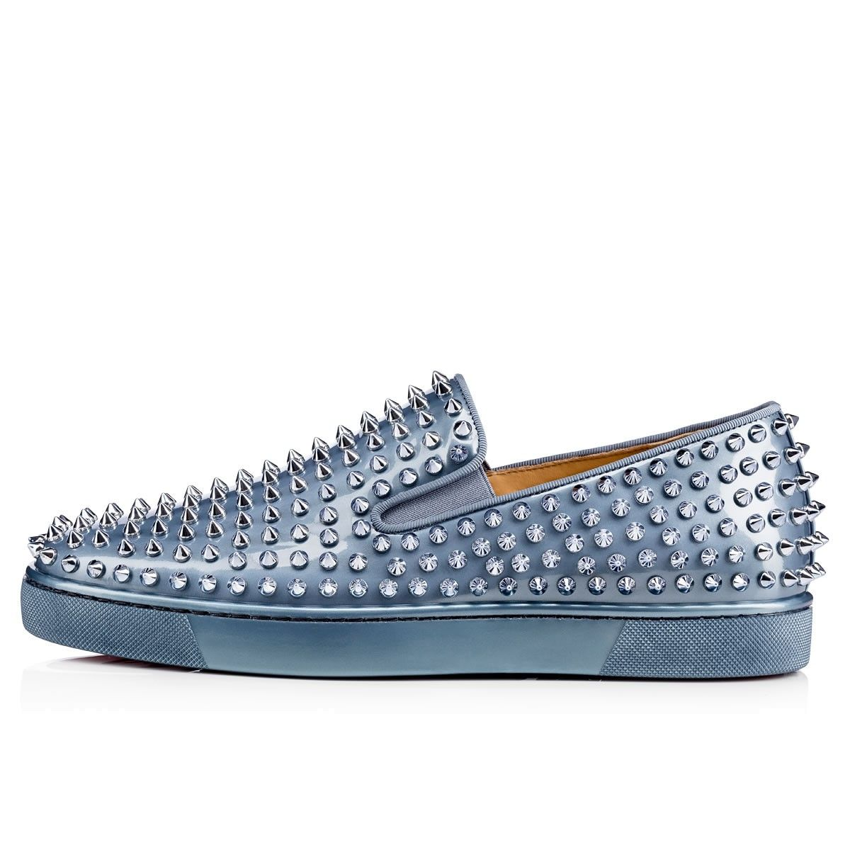 Roller pump shoes - Roller Boat Men S Flat Poseidon Metal Patent Men Shoes Christian Louboutin