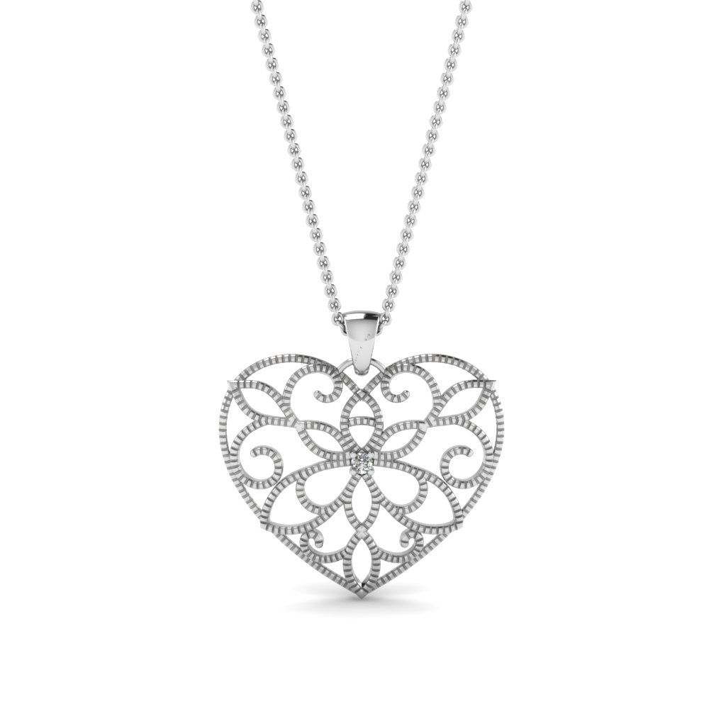 Magnolia heart diamond pendant in 14k white gold pendants magnolia heart diamond pendant in 14k white gold mozeypictures Images