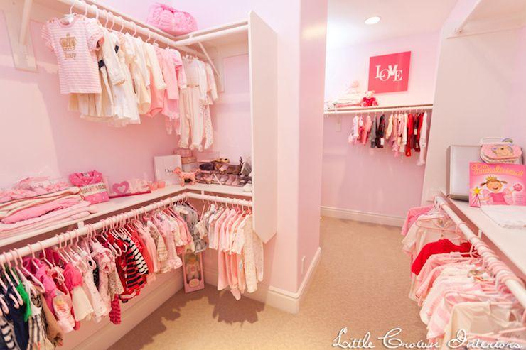 Little Crown Interiors Nursery Walk In Closet Baby Girl Closet