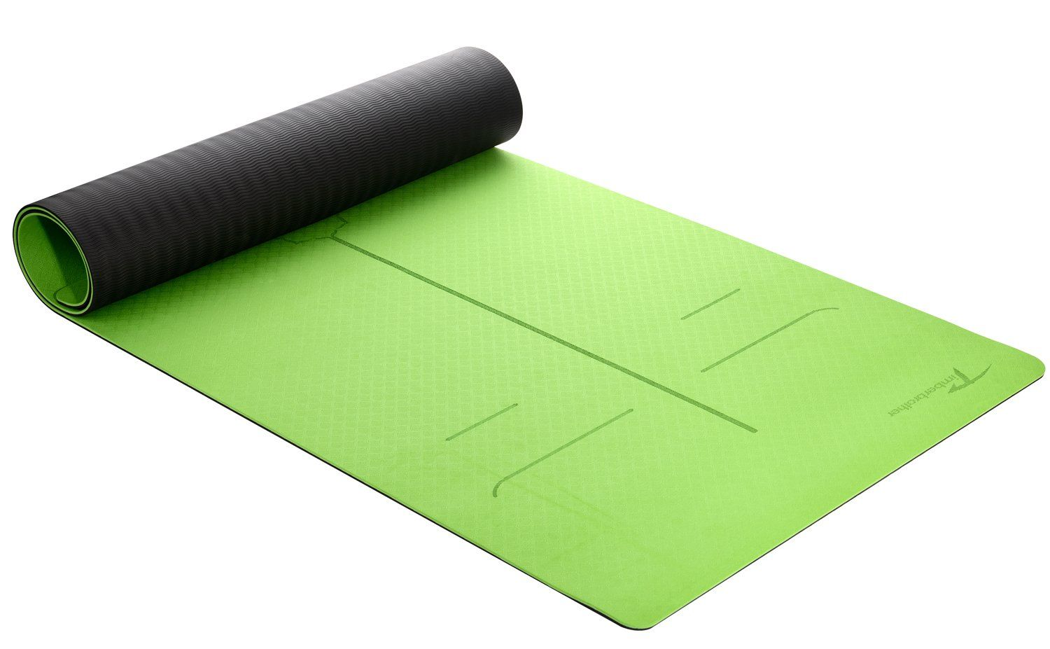 Timberbrother Yoga Mat Eco Friendly Tpe Material With Body Alignment System Extra Wide At 27 X 72 X 6mm Thick Green Blac Green Black S Yoga Mat Mats