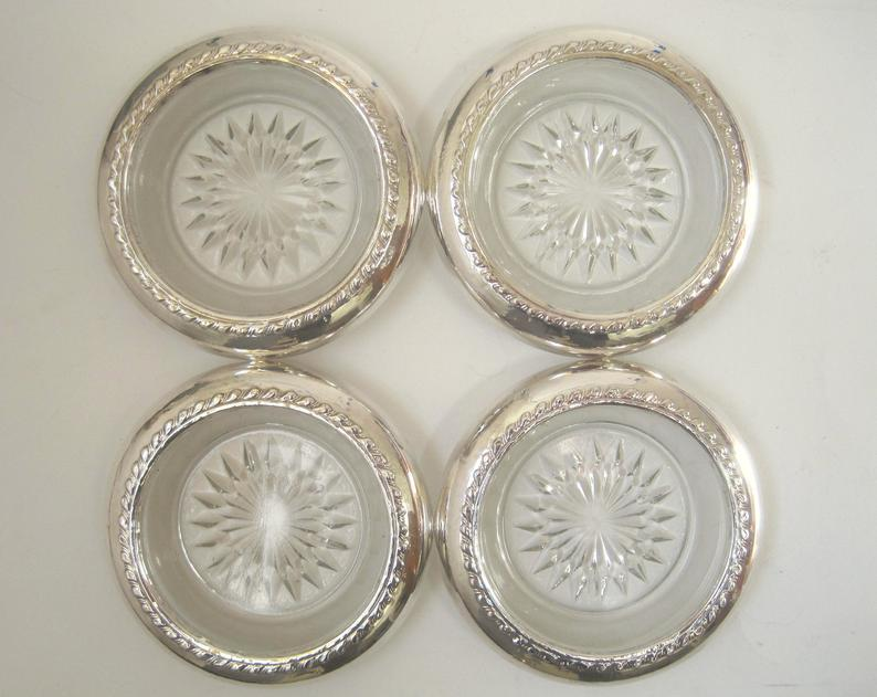 4 Sterling Silver Rim Clear Glass Coasters Vintage Maker Etsy In