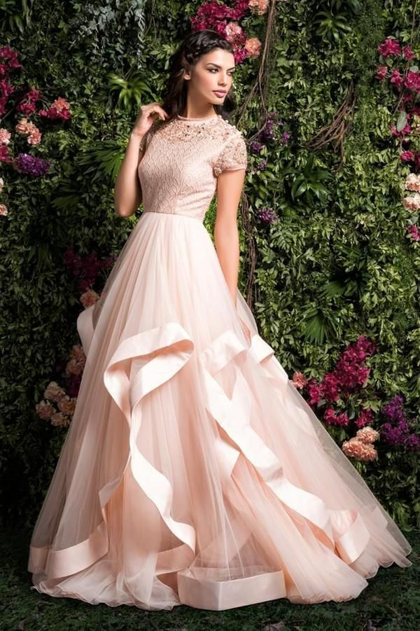 Light Peach Color Designer Gown For Wedding Ff1044 In 2019