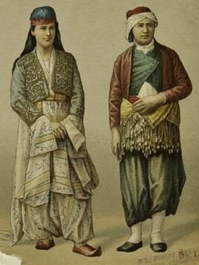 Costumes from different regions of the Ottoman Empire.  1870. Left: Rural bridal costume from the Bursa region. Right: Greek-orthodox trader from Aydın. (Source: 'Les Costumes Populaires de la Turquie'- Hamdi Bey, 1873).