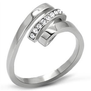 RIGHT HAND RING - High Polished Stainless Steel Twisted Style Ring with Clear Round Cut Crystal HopeChestJewelry. $9.49