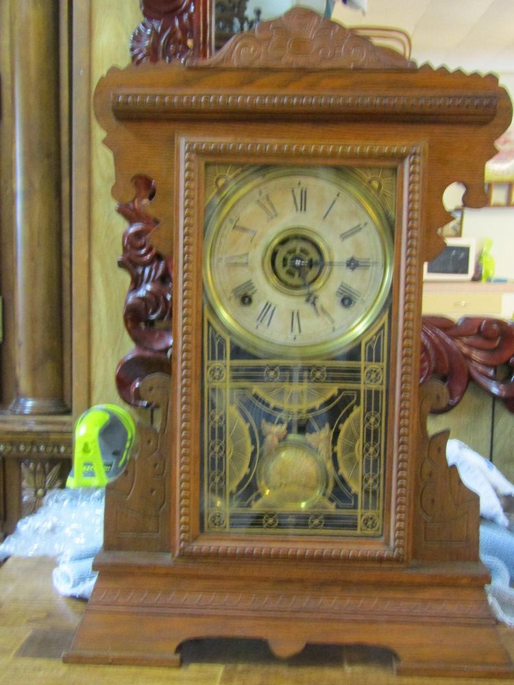 gilbert kitchen clock lowes light fixtures antique with alarm made in winsted