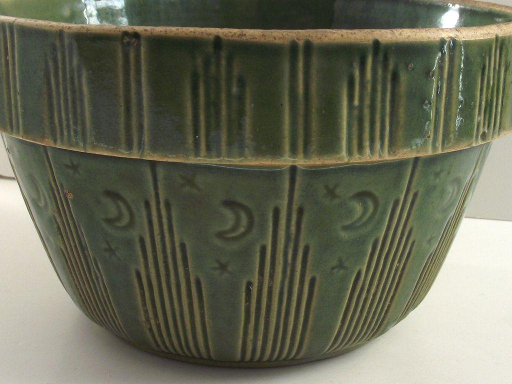 "1920's MOON & STARS 7 "" Green Glaze Mixing Yellow Ware Bowl"