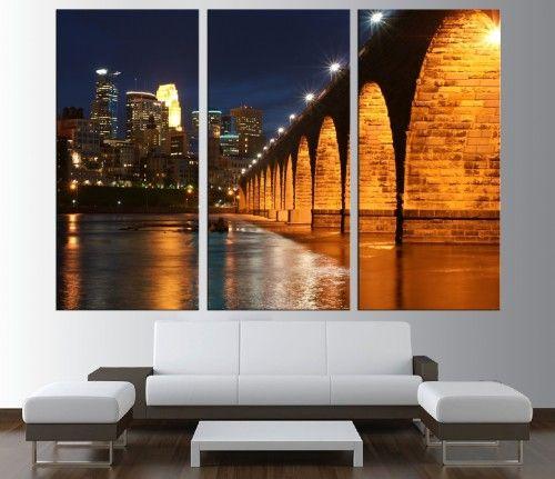 Minneapolis Skyline wall art Canvas Print, extra large wall art 190 ...