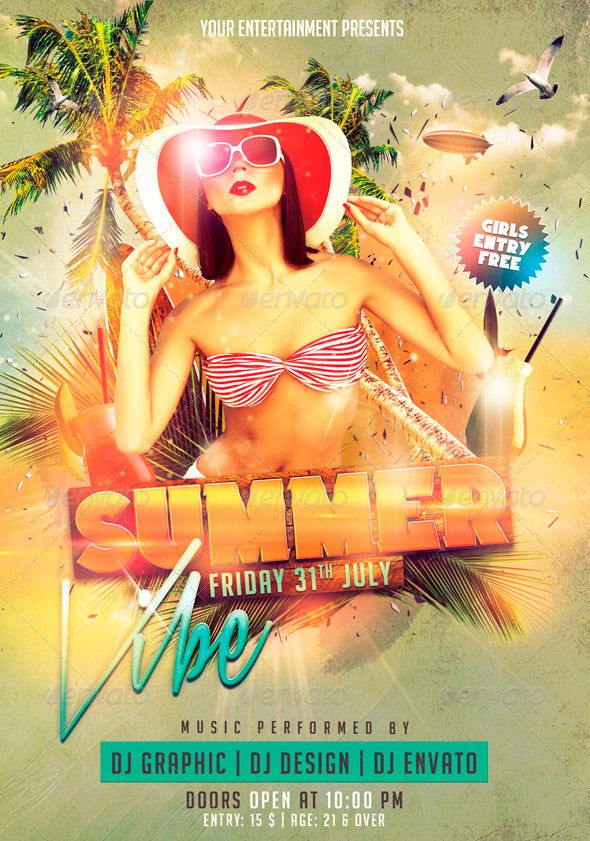 Summer Vibe PSD Flyer Template - http\/\/wwwffflyer\/summer - pool party flyer template