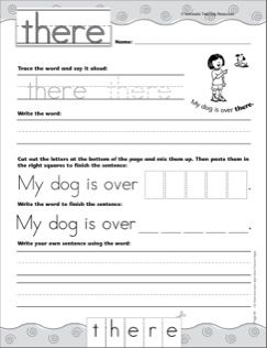 interactive practice page sight word there write and learn practice page free printables. Black Bedroom Furniture Sets. Home Design Ideas