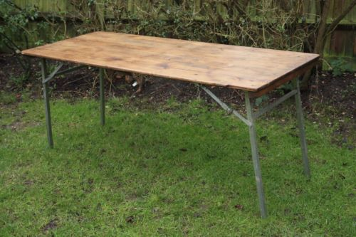 Vintage Industrial Wooden Trestle Table With Folding Metal Legs