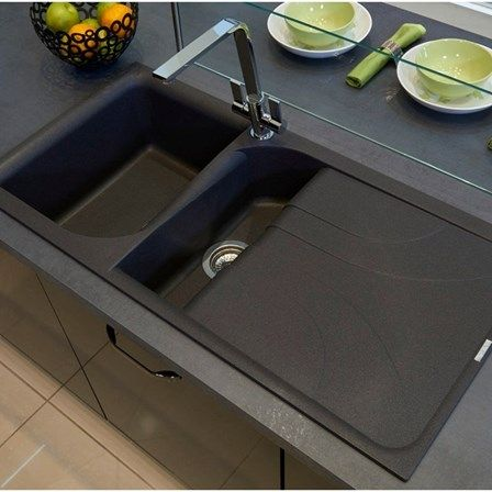Reginox Ego 1 5 Bowl Black Granite Composite Kitchen Sink With Reversible Drainer Waste Kit 1000 X 500mm Composite Kitchen Sinks Black Kitchen Sink Black Kitchens
