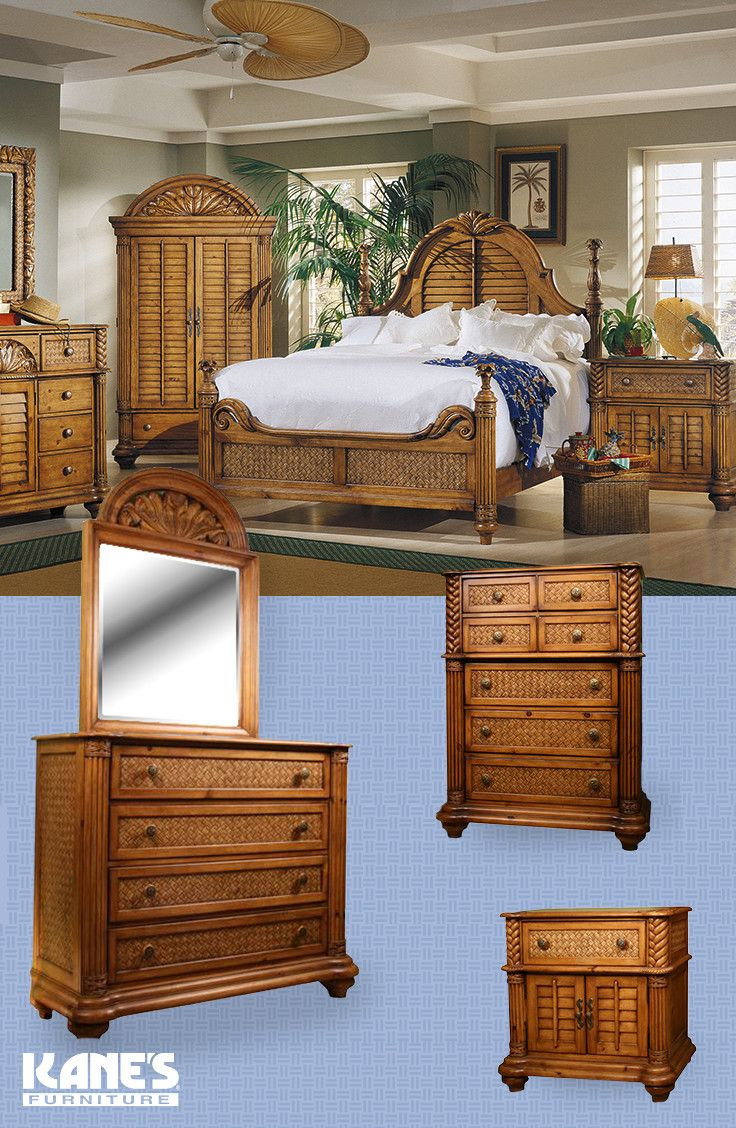 Show Off Your Taste For The Tropics With Timeless Palm Court Bedroom Set Pine