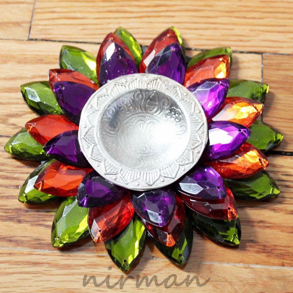 Lotus Flower Floating Tealight Candle Holder Diya Diva Green