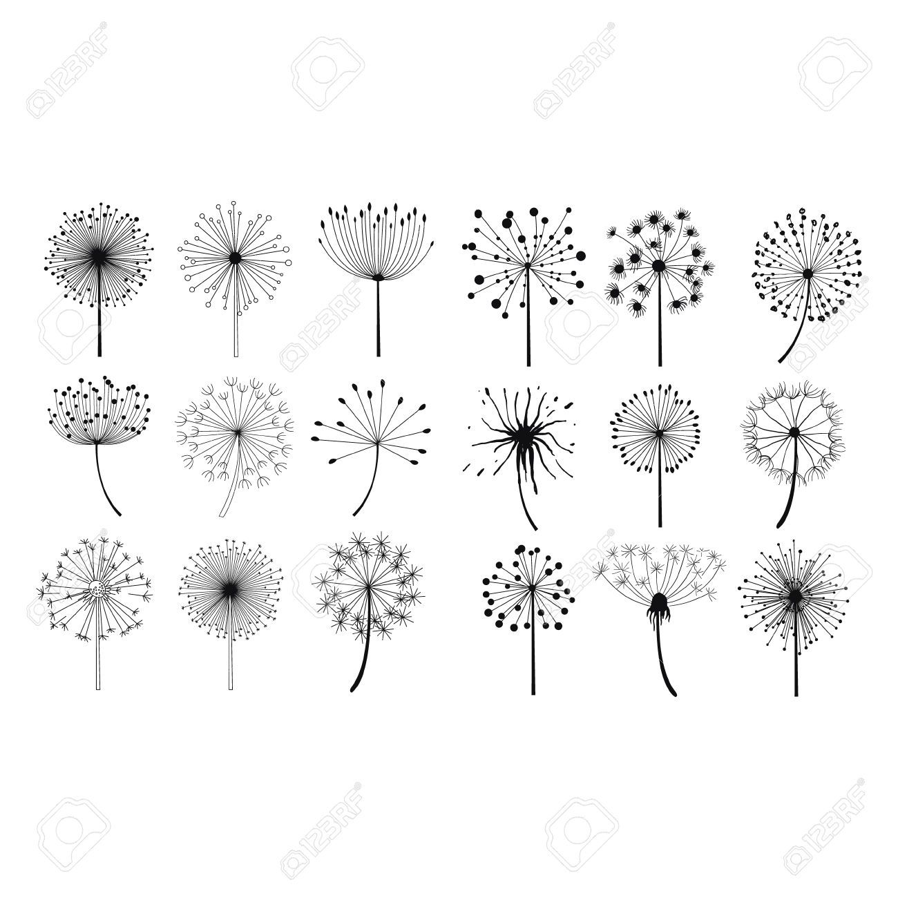 55499242-Dandelion-Fluffy-Seeds-Flowers-Hand-Drawn-Doodle-Style-Black-And-White-Drawing-Vector-Icons-Set-Stock-Vector.jpg (1300×1300)