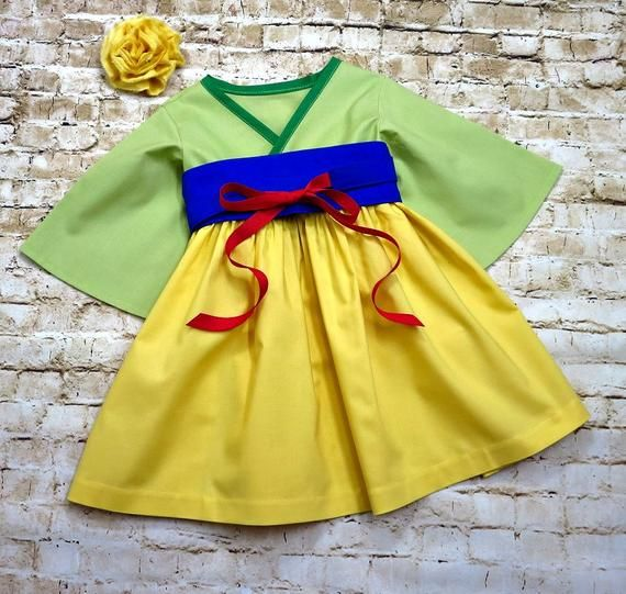 Princess Mulan Costume Birthday Party Dress for Toddler Girls
