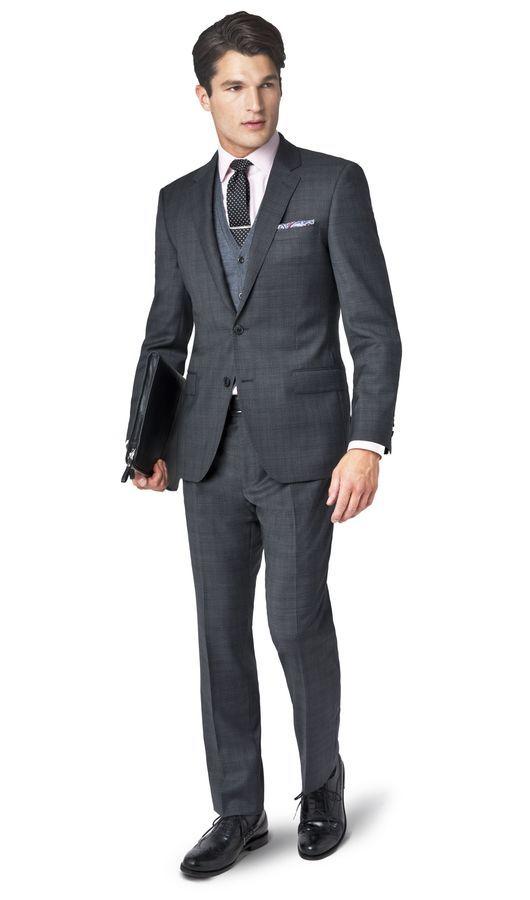 a28e9563847 Farringdon Charcoal Grey Overcheck 2-Button Slim Fit Suit