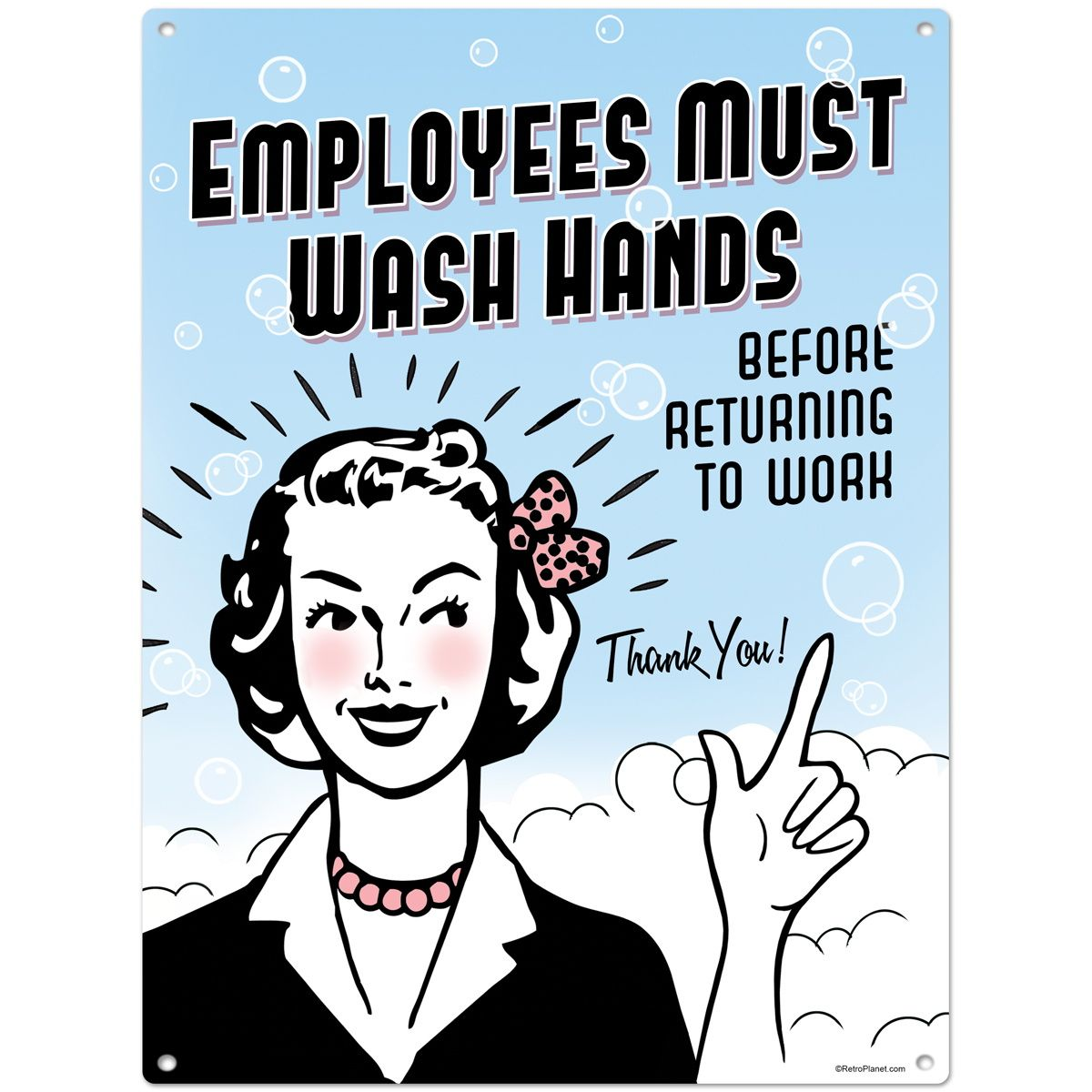 Employees Must Wash Hands Metal Bathroom Sign