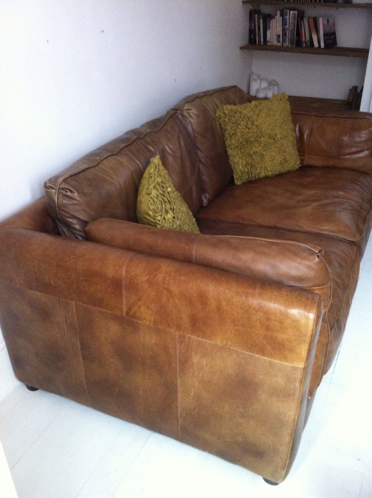 Brooklyn 3 Seater Sofa Freedom New Jersey Vintage Antique Style Tan Leather Living Room
