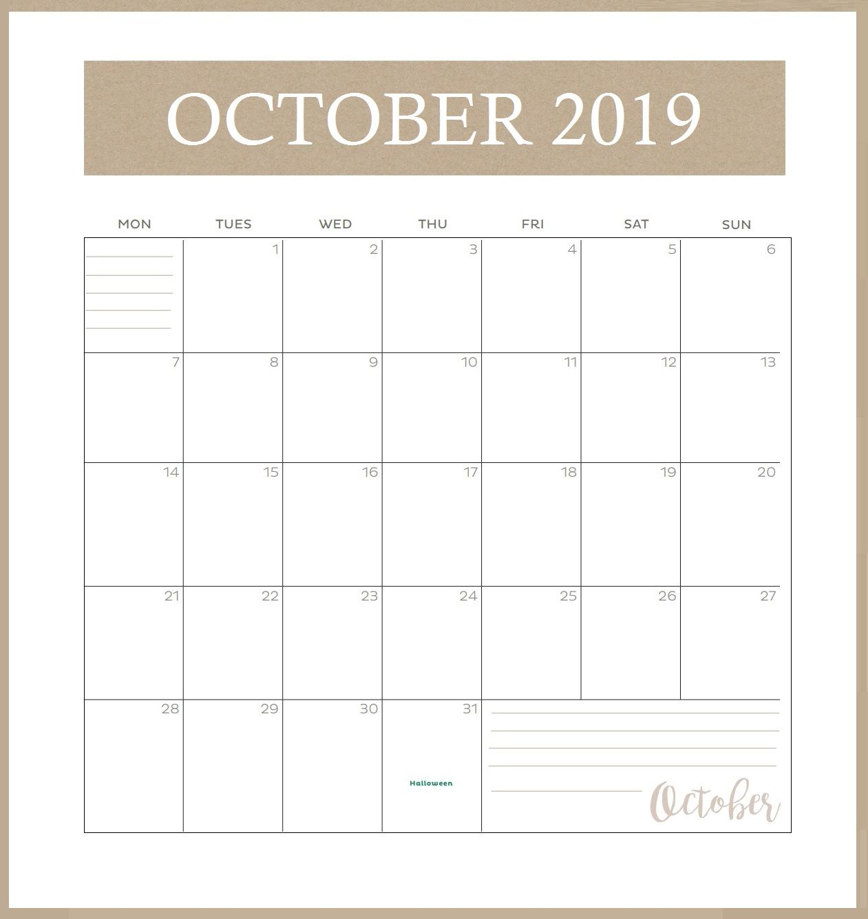 Printable October 2019 Calendar Vertical 2019 Calendar Free Printable Calendar Templates Digital Calendar