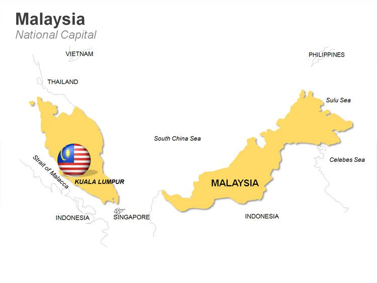 Editable Powerpoint Map Malaysia Map Map Political Map Malaysia