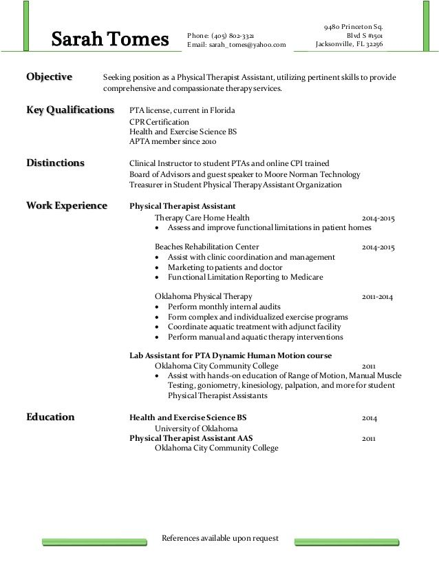 seeking position physical therapist assistant utilizing pert - exercise science resume