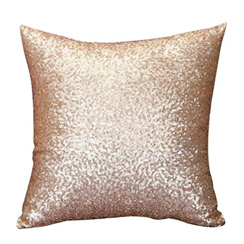 Stylish Comfy Solid Color Sequins Cushion Cover Throw Pillow Case Cafe Decor Gold Sequin Throw Pillows Glitter Home Decor Gold Throw Pillows