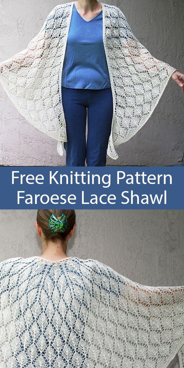 Free Knitting Pattern for Leaf Lace Faroese Shawl #irishlacecrochetpattern