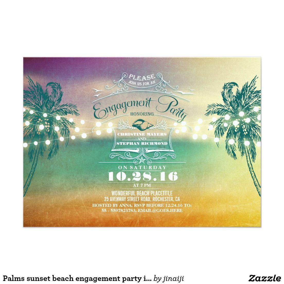Palms sunset beach engagement party invitations | Wedding ...