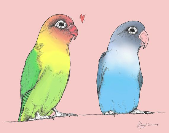Lovebirds Of A Different Color Print From By DiagonalComics