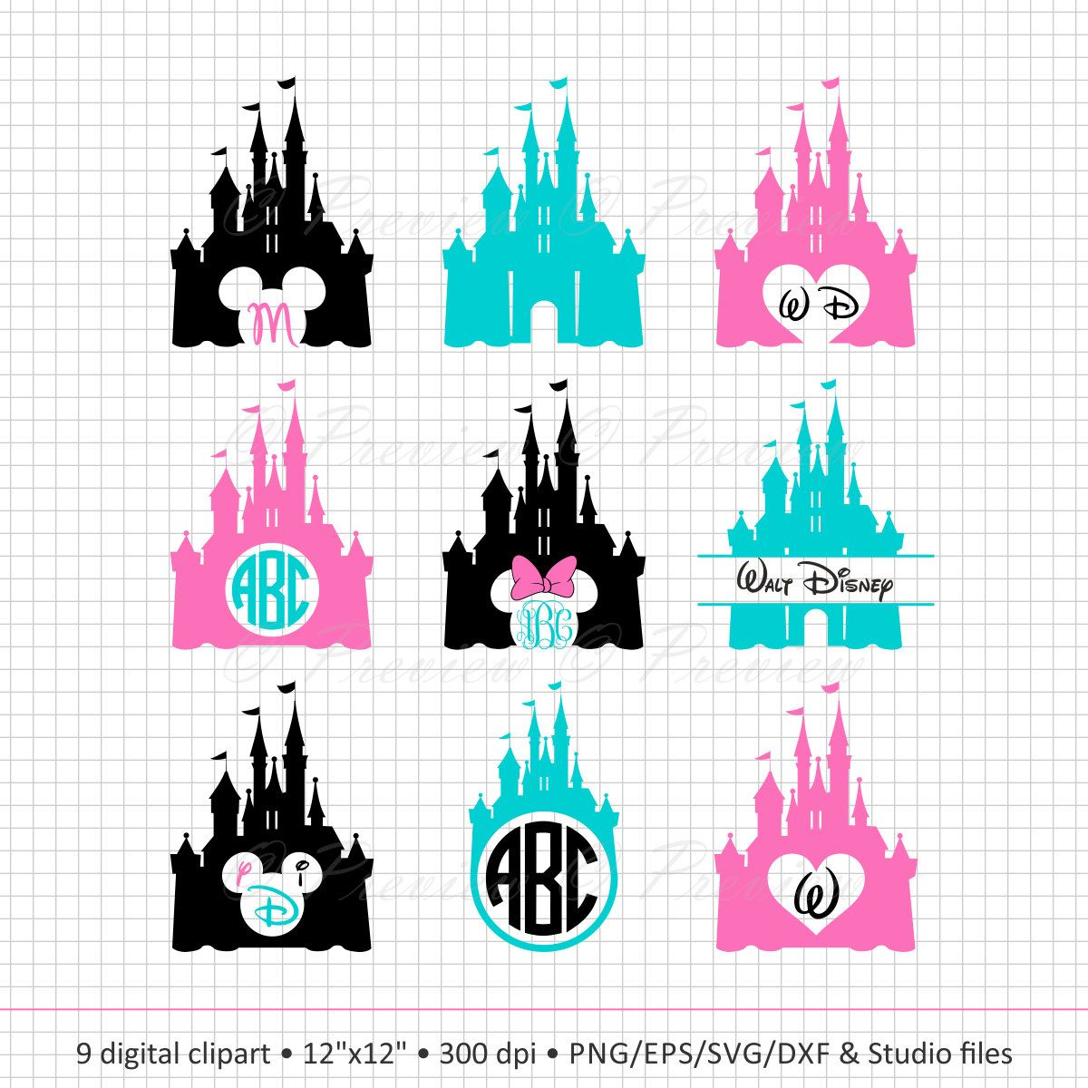 Buy 2 Get 1 Free! Digital Clipart Disney Castle Monogram