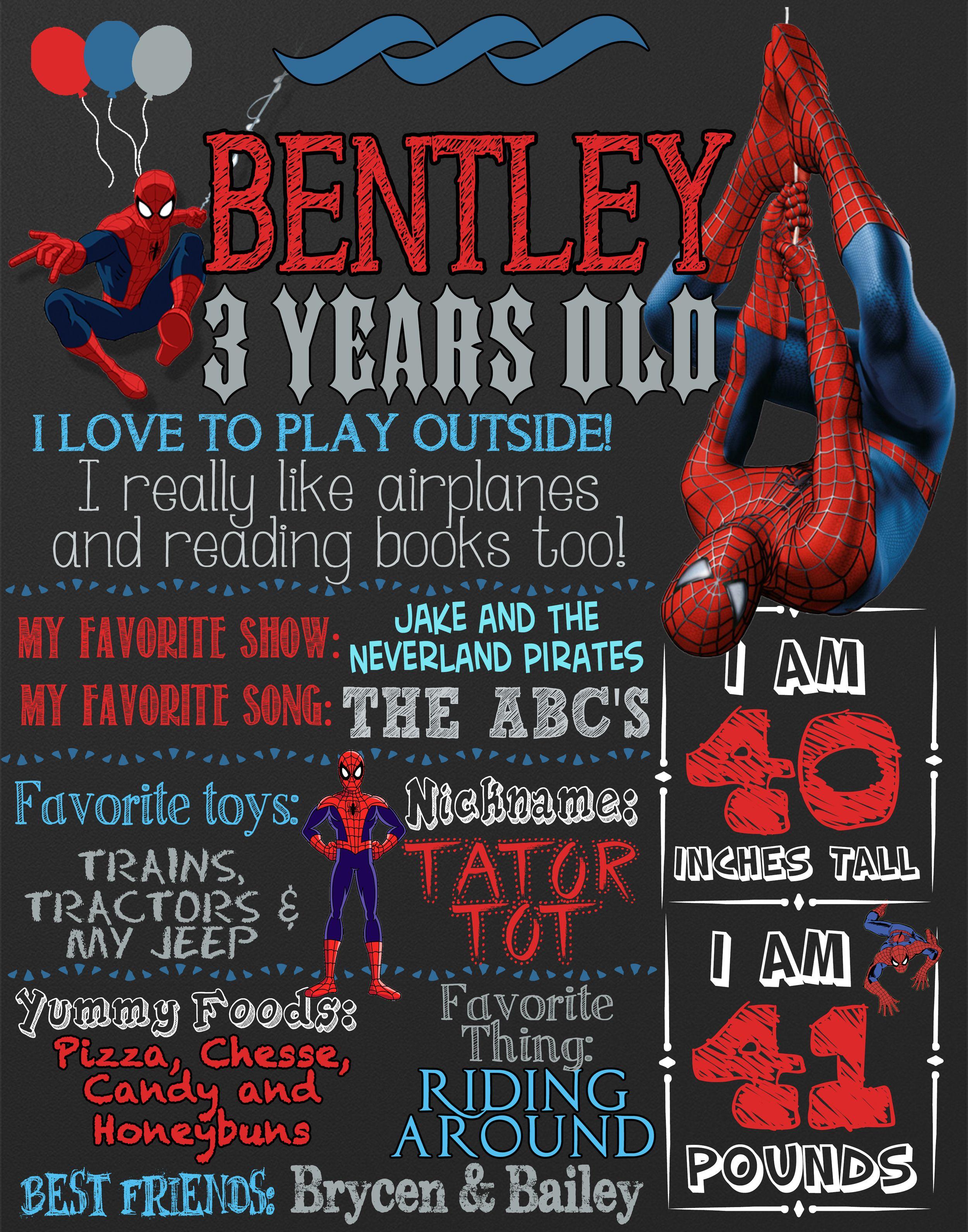 Spiderman birthday party custom chalkboard sign style, spiderman ...