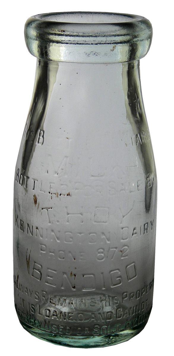 T Hoy Kennington Dairy Bendigo Half Pint Wide Mouth Milk Bottle Vintage Bottles Antique Bottles Bottles And Jars