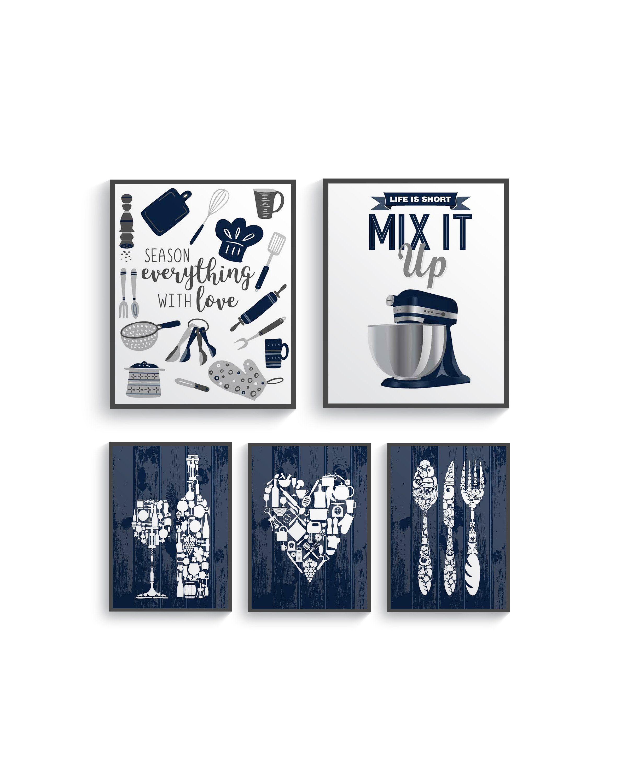 Modern Navy Blue Gray Kitchen Wall Decor Navy Blue Kitchen Etsy Navy Blue Kitchen Blue Dining Room Decor Dining Room Blue