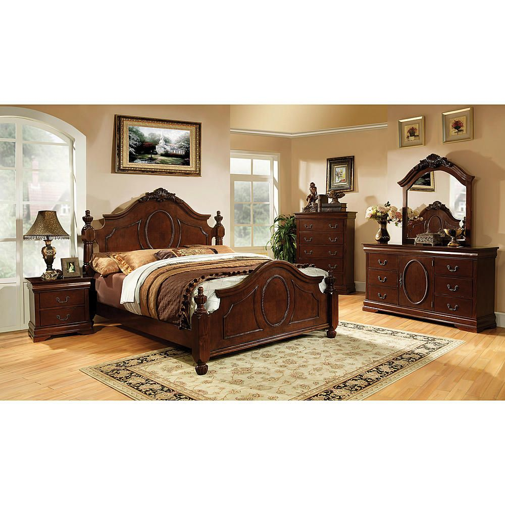 Furniture of America Brown Cherry Elaine Baroque Style Bed - Home - Furniture - Bedroom Furniture - Beds