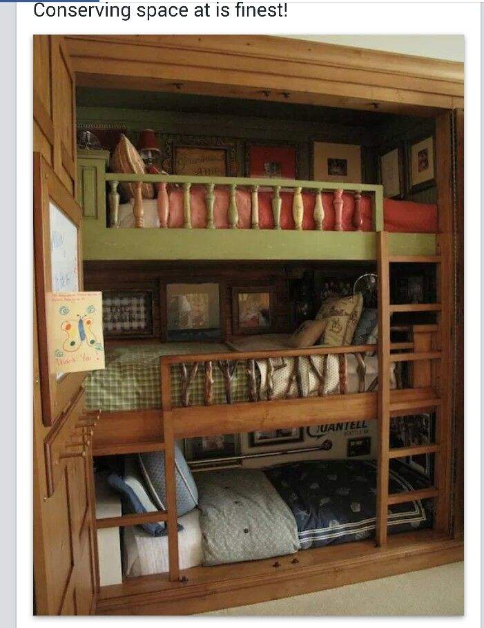 Three Bunk Beds Inside A Closet Is Probably Better). A Neat Idea To Utilize  Space In The Bedroom Or Great For A Small House Project.
